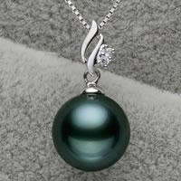 Tahiti Perlen Anhänger, mit Messing, rund, natürlich, mit kubischem Zirkonia, Malachitgrün, 10-11mm, Bohrung:ca. 3x6mm, verkauft von PC