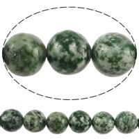 Grüner Tupfen Stein Perlen, grüner Punkt Stein, rund, natürlich, 12mm, Bohrung:ca. 1.2mm, Länge:ca. 15 ZollInch, 10SträngeStrang/Menge, ca. 32PCs/Strang, verkauft von Menge