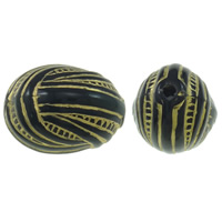 Golddruck Acryl Perlen, oval, Volltonfarbe, schwarz, 22x17mm, Bohrung:ca. 2mm, ca. 125PCs/Tasche, verkauft von Tasche