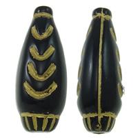 Golddruck Acryl Perlen, Vase, Volltonfarbe, schwarz, 21x8mm, Bohrung:ca. 2mm, ca. 625PCs/Tasche, verkauft von Tasche