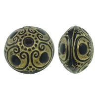 Golddruck Acryl Perlen, rund, Volltonfarbe, schwarz, 11x15mm, Bohrung:ca. 2mm, ca. 310PCs/Tasche, verkauft von Tasche