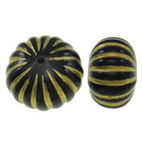Golddruck Acryl Perlen, Rondell, gewellt & Volltonfarbe, schwarz, 17x11mm, Bohrung:ca. 0.8mm, ca. 205PCs/Tasche, verkauft von Tasche