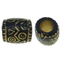 Golddruck Acryl Perlen, Trommel, Volltonfarbe, schwarz, 9x7mm, Bohrung:ca. 4mm, ca. 1665PCs/Tasche, verkauft von Tasche