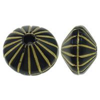 Golddruck Acryl Perlen, flache Runde, Volltonfarbe, schwarz, 7x9mm, Bohrung:ca. 2mm, ca. 1000PCs/Tasche, verkauft von Tasche