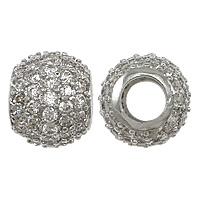 Messing European Perlen, Trommel, platiniert, Micro pave Zirkonia & ohne troll, frei von Nickel, Blei & Kadmium, 9x11x11mm, Bohrung:ca. 5mm, 5PCs/Menge, verkauft von Menge