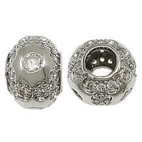 Messing European Perlen, Trommel, platiniert, Micro pave Zirkonia & ohne troll & hohl, frei von Nickel, Blei & Kadmium, 9x12x12mm, Bohrung:ca. 5mm, 10PCs/Menge, verkauft von Menge