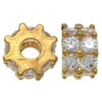 Kubischer Zirkonia Messing Perlen, Trommel, plattiert, mit kubischem Zirkonia, keine, frei von Nickel, Blei & Kadmium, 10x6mm, Bohrung:ca. 3.5mm, verkauft von PC