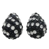 Halb gebohrte Strass Perlen, Ton, Tropfen, mit 90 Stück Strass & halbgebohrt, keine, 14x19mm, Bohrung:ca. 1mm, 5PCs/Tasche, verkauft von Tasche