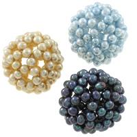 Ball Cluster Zuchtperlen, Natürliche kultivierte Süßwasserperlen, rund, gemischte Farben, 34mm, Bohrung:ca. 7mm, 5PCs/Tasche, verkauft von Tasche
