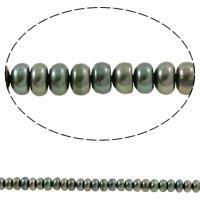 Button kultivierte Süßwasserperlen, Natürliche kultivierte Süßwasserperlen, Knopf, dunkelgrün, 6-7mm, Bohrung:ca. 0.8mm, verkauft per ca. 15.2 ZollInch Strang