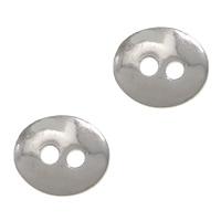Ovale Taste Verschluss, Messing, flachoval, Platinfarbe platiniert, frei von Nickel, Blei & Kadmium, 12x10mm, Bohrung:ca. 2mm, 200PCs/Menge, verkauft von Menge