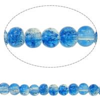 Knistern Glasperlen, Glas, rund, zweifarbig, keine, 4mm, Bohrung:ca. 1mm, Länge:ca. 29.5 ZollInch, 10SträngeStrang/Tasche, verkauft von Tasche