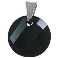KRISTALLanhänger, Kristall, mit Messing Stiftöse, flache Runde, facettierte, Jet schwarz, 18x25x7mm, Bohrung:ca. 5x6mm, 10PCs/Tasche, verkauft von Tasche