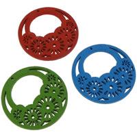 Holz Anhänger, flache Runde, gemischte Farben, 25x2mm, Bohrung:ca. 0.5mm, 100PCs/Tasche, verkauft von Tasche