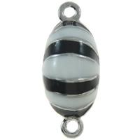 Zinklegierung Magnetverschluss, oval, Platinfarbe platiniert, Emaille & Einzelstrang & zweifarbig, frei von Nickel, Blei & Kadmium, 21x9x8mm, Bohrung:ca. 1.5mm, 10PCs/Tasche, verkauft von Tasche