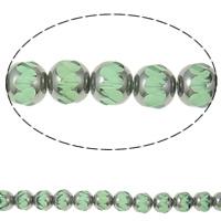 Kristall-Perlen, Kristall, Rondell, halb plattiert, Peridot, 9x10mm, Bohrung:ca. 1mm, ca. 32PCs/Strang, verkauft per ca. 12.5 ZollInch Strang