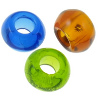 Kristall European Perlen, Rondell, transparent & ohne troll, gemischte Farben, 14x8mm, Bohrung:ca. 6mm, 10PCs/Tasche, verkauft von Tasche