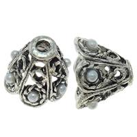 Zinklegierung Perlenkappe, Blume, antik silberfarben plattiert, mit Kunststoff-Perlen, frei von Nickel, Blei & Kadmium, 11x8x10mm, Bohrung:ca. 2mm, 10PCs/Tasche, verkauft von Tasche