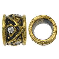 Strass Zinklegierung Perlen, Trommel, antike Goldfarbe plattiert, mit Strass & großes Loch, frei von Nickel, Blei & Kadmium, 8x12mm, Bohrung:ca. 8mm, 10PCs/Tasche, verkauft von Tasche