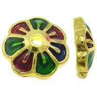 Zinklegierung Perlenkappe, Blume, 14 K vergoldet, Emaille, farbenfroh, frei von Blei & Kadmium, 8x2.5mm, Bohrung:ca. 2mm, 20PCs/Tasche, verkauft von Tasche