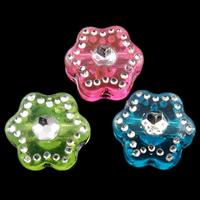 Silberdruck Acrylperlen, Acryl, Blume, gemischte Farben, 7.5X4mm, Bohrung:ca. 1mm, 3600PCs/Tasche, verkauft von Tasche