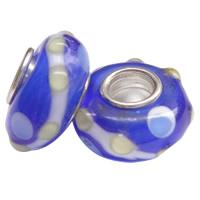 Lampwork Perlen European Stil, Rondell, handgemacht, einadriges Kabel Messing ohne troll & uneben, blau, 14x7mm, Bohrung:ca. 4mm, 100PCs/Tasche, verkauft von Tasche