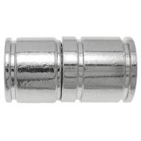 Zinklegierung Magnetverschluss, Messing, Zylinder, Platinfarbe platiniert, frei von Nickel, Blei & Kadmium, 18x10mm, Bohrung:ca. 5.5mm, 10PCs/Tasche, verkauft von Tasche