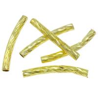 Messing gebogene Rohr Perlen, goldfarben plattiert, frei von Nickel, Blei & Kadmium, 25x3mm, Bohrung:ca. 1.5mm, 1000PCs/Tasche, verkauft von Tasche