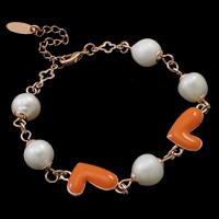 Messing Armband, mit Perlen, mit Verlängerungskettchen von 5.5cm, Herz, Rósegold-Farbe plattiert, Emaille, frei von Nickel, Blei & Kadmium, 8-9mm, 10.5x19.5x4.5mm, verkauft per ca. 6 ZollInch Strang