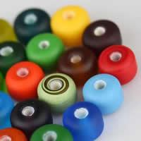 Satinierte Lampwork Perlen, Rondell, handgemacht, gemischte Farben, 10x7mm, Bohrung:ca. 2.5mm, 50PCs/Tasche, verkauft von Tasche