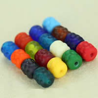 Satinierte Lampwork Perlen, Trommel, handgemacht, verschiedene Größen vorhanden, gemischte Farben, Bohrung:ca. 2mm, 30PCs/Tasche, verkauft von Tasche