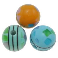 Harz Schmuckperlen, rund, verschiedene Größen vorhanden, gemischte Farben, Bohrung:ca. 1.5mm, 1000PCs/Tasche, verkauft von Tasche