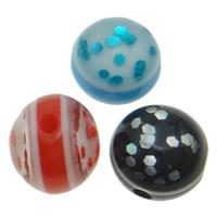 Harz Schmuckperlen, mit Kunststoff Pailletten, rund, verschiedene Größen vorhanden, gemischte Farben, Bohrung:ca. 1.5mm, 1000PCs/Tasche, verkauft von Tasche