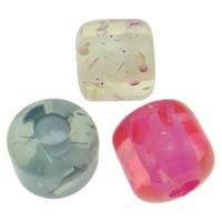 Harz Schmuckperlen, Zylinder, gemischte Farben, 14x13m, Bohrung:ca. 2mm, 250PCs/Tasche, verkauft von Tasche