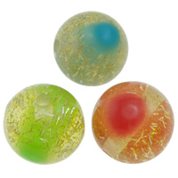 Harz Schmuckperlen, rund, buntes Pulver, gemischte Farben, 20mm, Bohrung:ca. 2.5mm, 200PCs/Tasche, verkauft von Tasche