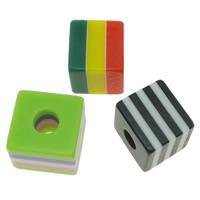 Gestreifte Harz Perlen, Würfel, Streifen, gemischte Farben, 10x9x10mm, Bohrung:ca. 3mm, 1000PCs/Tasche, verkauft von Tasche