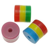 Gestreifte Harz Perlen, Zylinder, Streifen, gemischte Farben, 9x9mm, Bohrung:ca. 4mm, 1000PCs/Tasche, verkauft von Tasche