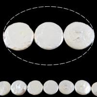 Münze Süßwasser Zuchtperlen, Natürliche kultivierte Süßwasserperlen, natürlich, weiß, Klasse AA, 15-18mm, Bohrung:ca. 0.8mm, verkauft per 15 ZollInch Strang