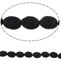 Natürliche Lava Perlen, flachoval, schwarz, 10x14x5mm, Bohrung:ca. 1mm, ca. 28PCs/Strang, verkauft per ca. 15 ZollInch Strang