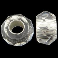 Harz European Perlen, Rondell, Imitation Kristall & transparent & ohne troll & facettierte, klar, 14x8mm, Bohrung:ca. 5mm, 100PCs/Tasche, verkauft von Tasche