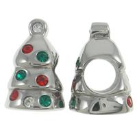 Weihnachten Edelstahlkugeln, Edelstahl, Weihnachtsbaum, Weihnachtsschmuck & ohne troll & mit Strass, farbenfroh, 10x14x9mm, Bohrung:ca. 4.5mm, verkauft von PC