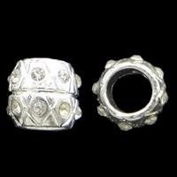 Strass Zinklegierung Perlen, Trommel, silberfarben plattiert, mit Strass & großes Loch, frei von Nickel, Blei & Kadmium, 11x10mm, Bohrung:ca. 6mm, 10PCs/Tasche, verkauft von Tasche