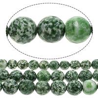 Grüner Tupfen Stein Perlen, grüner Punkt Stein, rund, Weitere Größen für Wahl & facettierte, Bohrung:ca. 1mm, verkauft von Menge