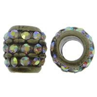 Strass Zinklegierung Perlen, Trommel, antike Bronzefarbe plattiert, mit Strass & großes Loch, frei von Nickel, Blei & Kadmium, 11x12mm, Bohrung:ca. 6mm, 10PCs/Tasche, verkauft von Tasche