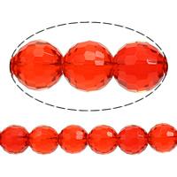 Runde Kristallperlen, Kristall, facettierte, Siam, 16mm, Bohrung:ca. 1mm, Länge:ca. 13 ZollInch, 10SträngeStrang/Menge, ca. 22PCs/Strang, verkauft von Menge
