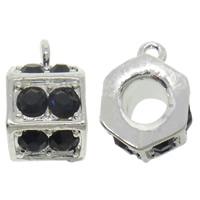 Zinklegierung Stiftöse Perlen, Trommel, plattiert, mit Strass, keine, frei von Nickel, Blei & Kadmium, 10x16x11mm, Bohrung:ca. 2mm, 10PCs/Tasche, verkauft von Tasche