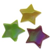 Plattierte Acrylperlen, Acryl, Stern, AB Farben plattiert, gemischte Farben, 29x26x5mm, Bohrung:ca. 2mm, ca. 250PCs/Tasche, verkauft von Tasche