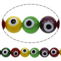 Evil Eye Glasperlen, Glas, rund, Nachahmung Korn des schlechten Auges, farbenfroh, 10mm, Bohrung:ca. 1mm, Länge:ca. 16 ZollInch, 10SträngeStrang/Menge, ca. 41/Strang, verkauft von Menge