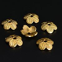Messing Perlenkappe, Blume, buddhistischer Schmuck, originale Farbe, frei von Nickel, Blei & Kadmium, 9x3mm, Bohrung:ca. 1.5mm, 200PCs/Menge, verkauft von Menge