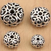 Bali Sterling Silber Perlen, Thailand, flache Runde, verschiedene Größen vorhanden & hohl, verkauft von Tasche